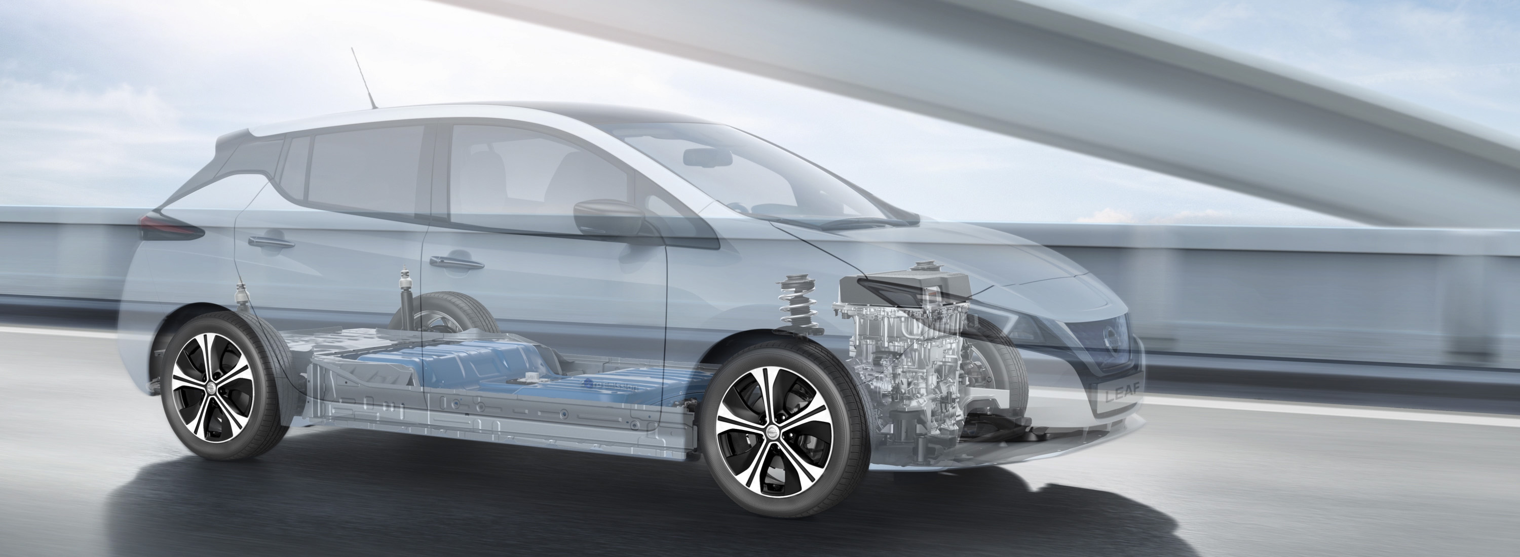 New Nissan LEAF x-ray view showing battery and motor